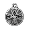 Charm Labyrinth 15mm Antique Silver